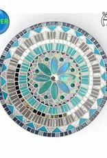 Mozaiek schaal Bloem grijs-turquoise