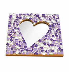Mozaiek pakket Spiegel DeLuxe Hart Wit-Paars-Violet