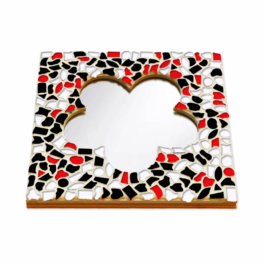 Mozaiek pakket Spiegel DeLuxe Bloem Rood-Zwart-Wit
