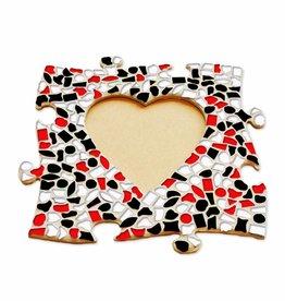 Mozaiek pakket Fotolijst Hart Rood-Zwart-Wit