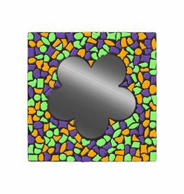 Mozaiek pakket Spiegel Bloem Paars-Oranje-Lichtgroen PREMIUM