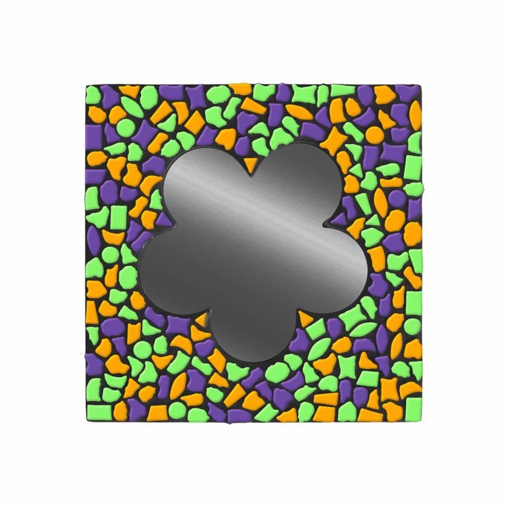 Spiegel Bloem Paars-Oranje-Lichtgroen Mozaiek pakket PREMIUM