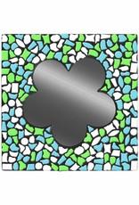 Spiegel Bloem Wit-Lichtblauw-Lichtgroen Mozaiek pakket PREMIUM
