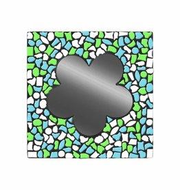 Mozaiek pakket Spiegel Bloem Wit-Lichtblauw-Lichtgroen PREMIUM