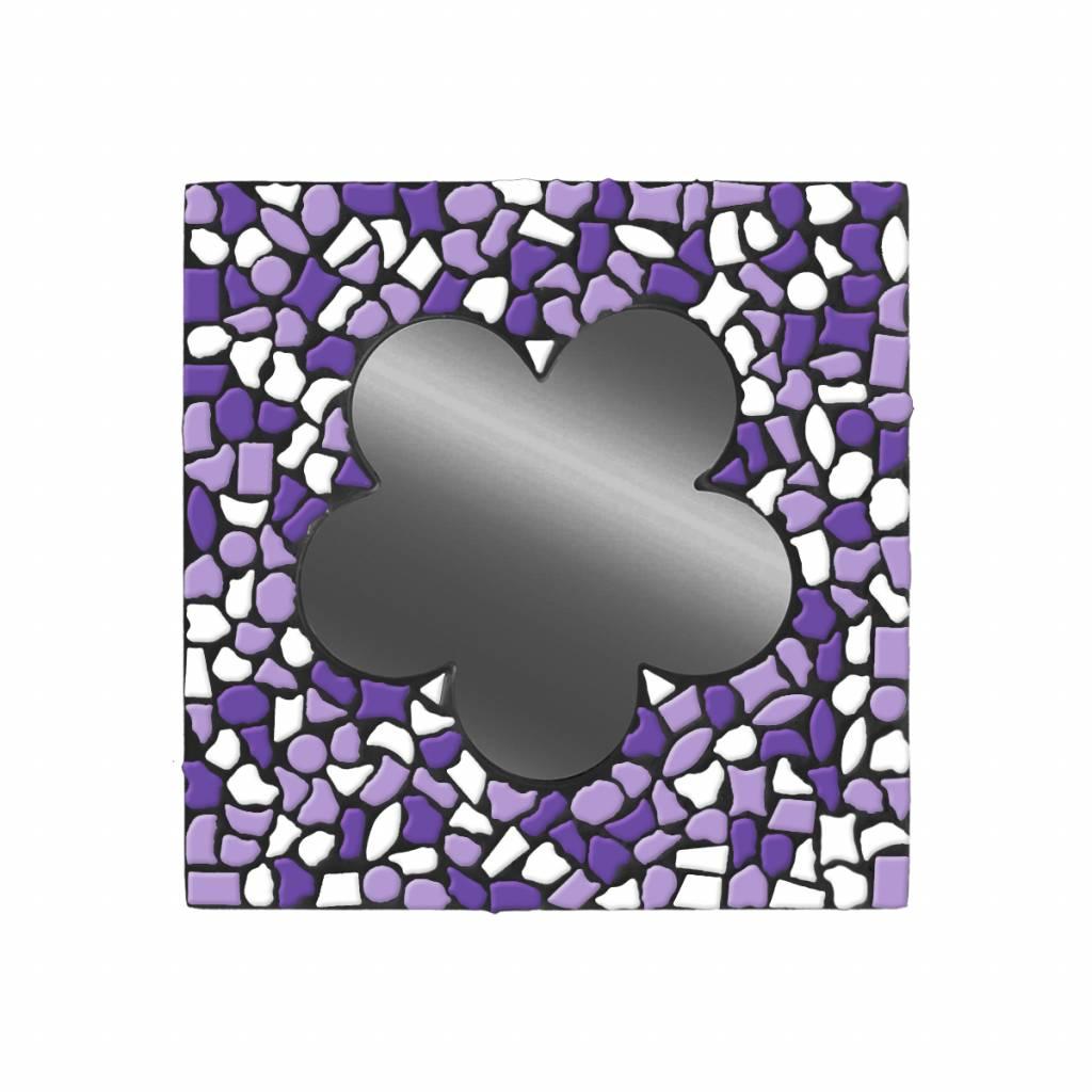 Spiegel Bloem Wit-Paars-Violet Mozaiek pakket PREMIUM