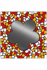 Cristallo Spiegel Bloem Wit-Rood-Oranje Mozaiek pakket PREMIUM