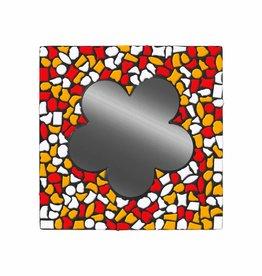 Cristallo Mozaiek pakket Spiegel Bloem Wit-Rood-Oranje PREMIUM
