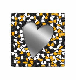 Mozaiek pakket Spiegel Hart Oranje-Wit-Zwart PREMIUM