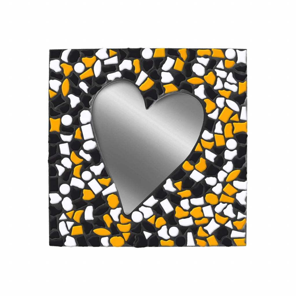Spiegel Hart Oranje-Wit-Zwart Mozaiek pakket PREMIUM