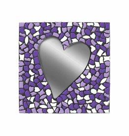 Mozaiek pakket Spiegel Hart Wit-Paars-Violet PREMIUM