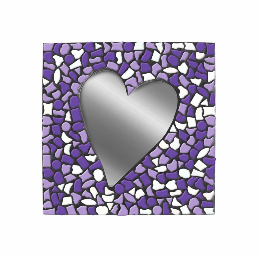 Spiegel Hart Wit-Paars-Violet Mozaiek pakket PREMIUM