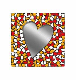 Mozaiek pakket Spiegel Hart Wit-Rood-Oranje PREMIUM