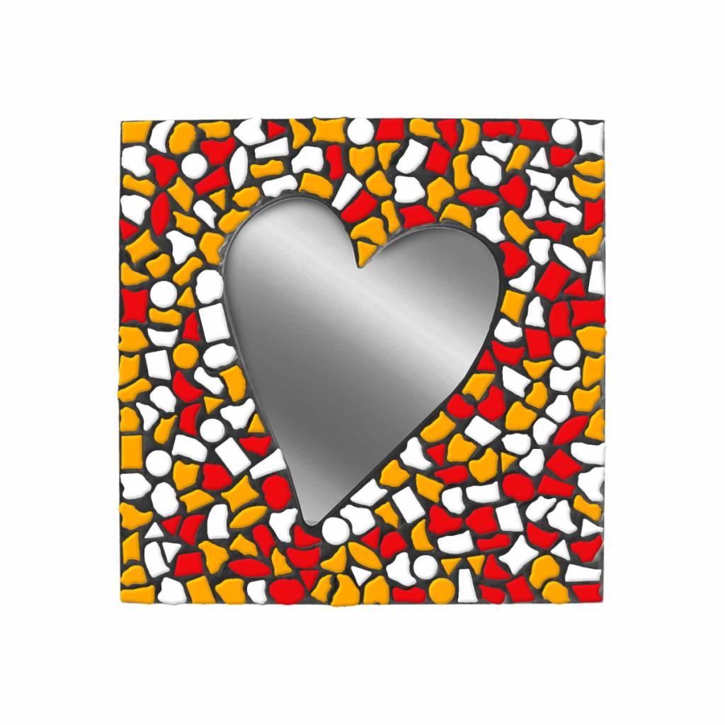 Spiegel Hart Wit-Rood-Oranje Mozaiek pakket PREMIUM