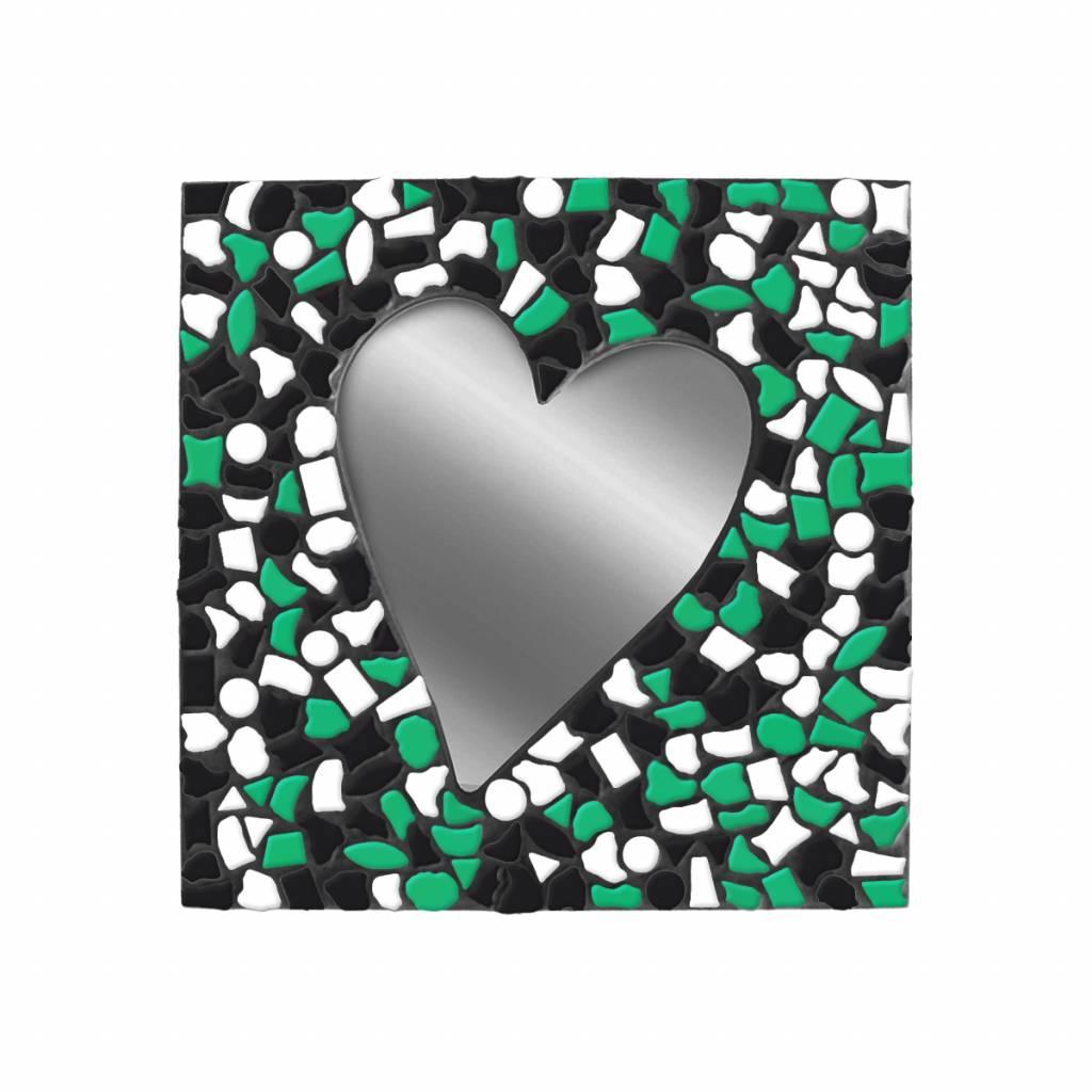 Cristallo Spiegel Hart Wit-Zwart-Donkergroen Mozaiek pakket PREMIUM