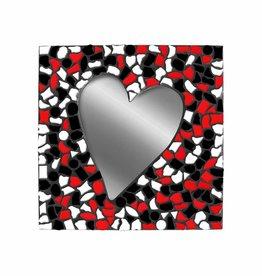 Mozaiek pakket Spiegel Hart Wit-Zwart-Rood PREMIUM