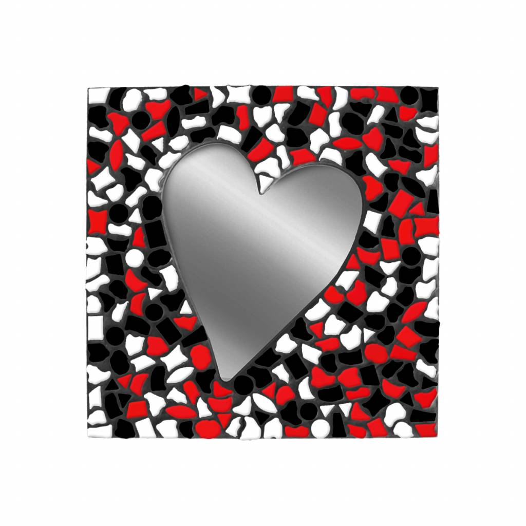 Spiegel Hart Wit-Zwart-Rood Mozaiek pakket PREMIUM