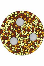Cristallo Waxinelichthouder Bruin-Oranje-Geel Mozaiek pakket PREMIUM