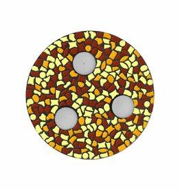 Mozaiek pakket Waxinelichthouder Bruin-Oranje-Geel PREMIUM