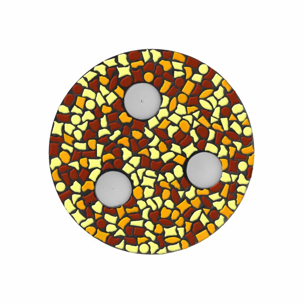 Waxinelichthouder Bruin-Oranje-Geel Mozaiek pakket PREMIUM