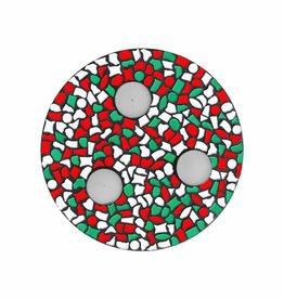 Cristallo Mozaiek pakket Waxinelichthouder Rood-Wit-Groen PREMIUM