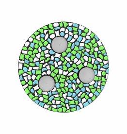 Mozaiek pakket Waxinelichthouder Wit-Lichtblauw-Lichtgroen PREMIUM