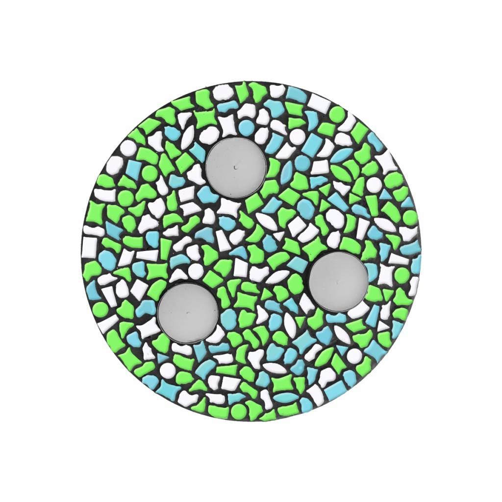 Waxinelichthouder Wit-Lichtblauw-Lichtgroen Mozaiek pakket PREMIUM