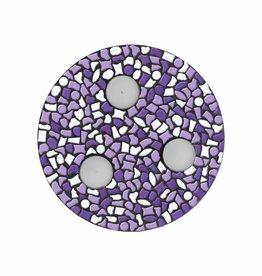 Mozaiek pakket Waxinelichthouder Wit-Paars-Violet PREMIUM