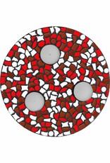 Cristallo Waxinelichthouder Wit-Rood-Bruin Mozaiek pakket PREMIUM