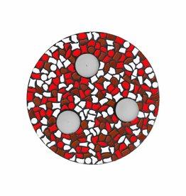 Mozaiek pakket Waxinelichthouder Wit-Rood-Bruin PREMIUM