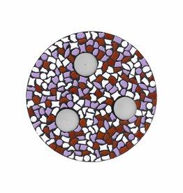 Mozaiek pakket Waxinelichthouder Wit-Violet-Bruin PREMIUM