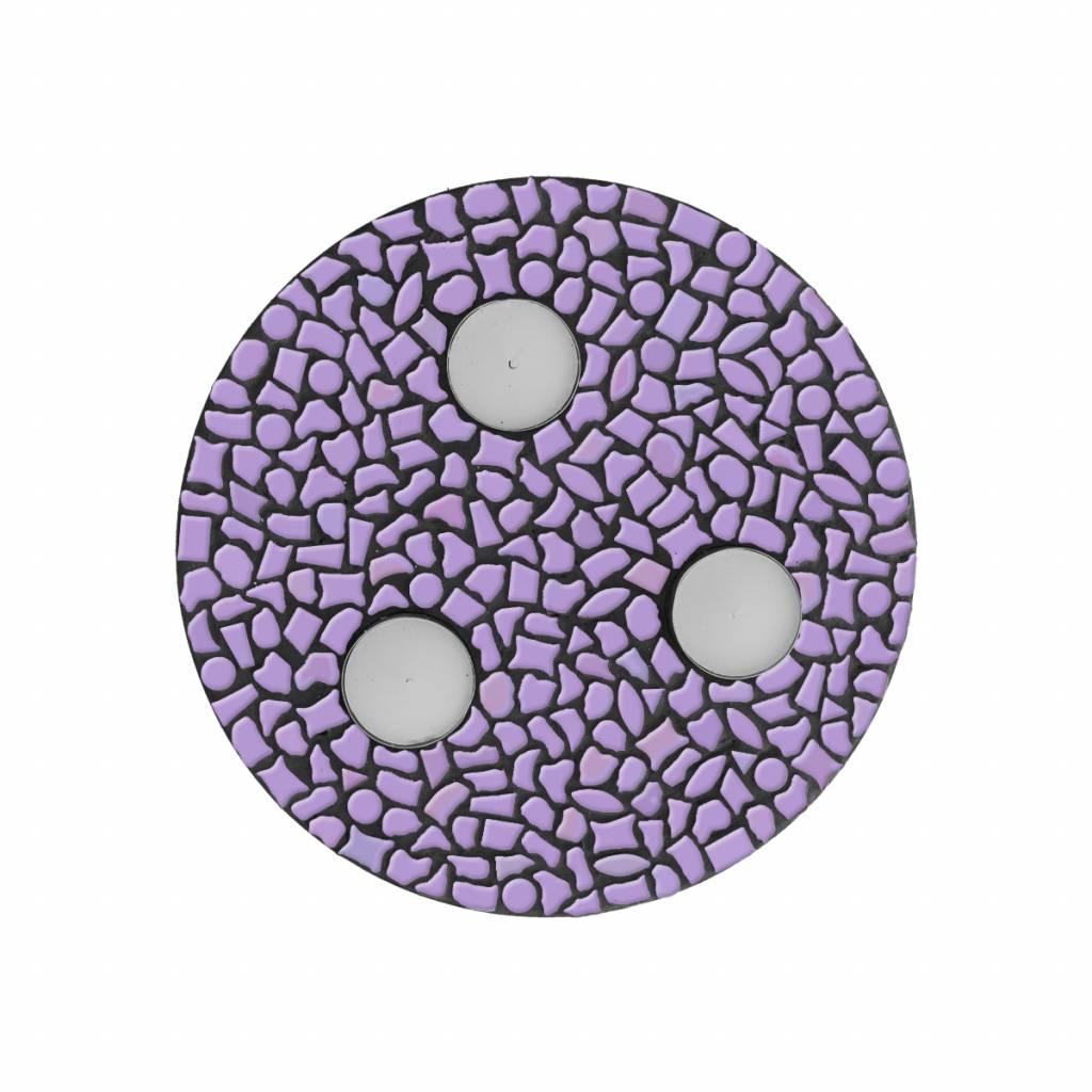 Cristallo Waxinelichthouder Uni Violet Mozaiek pakket PREMIUM
