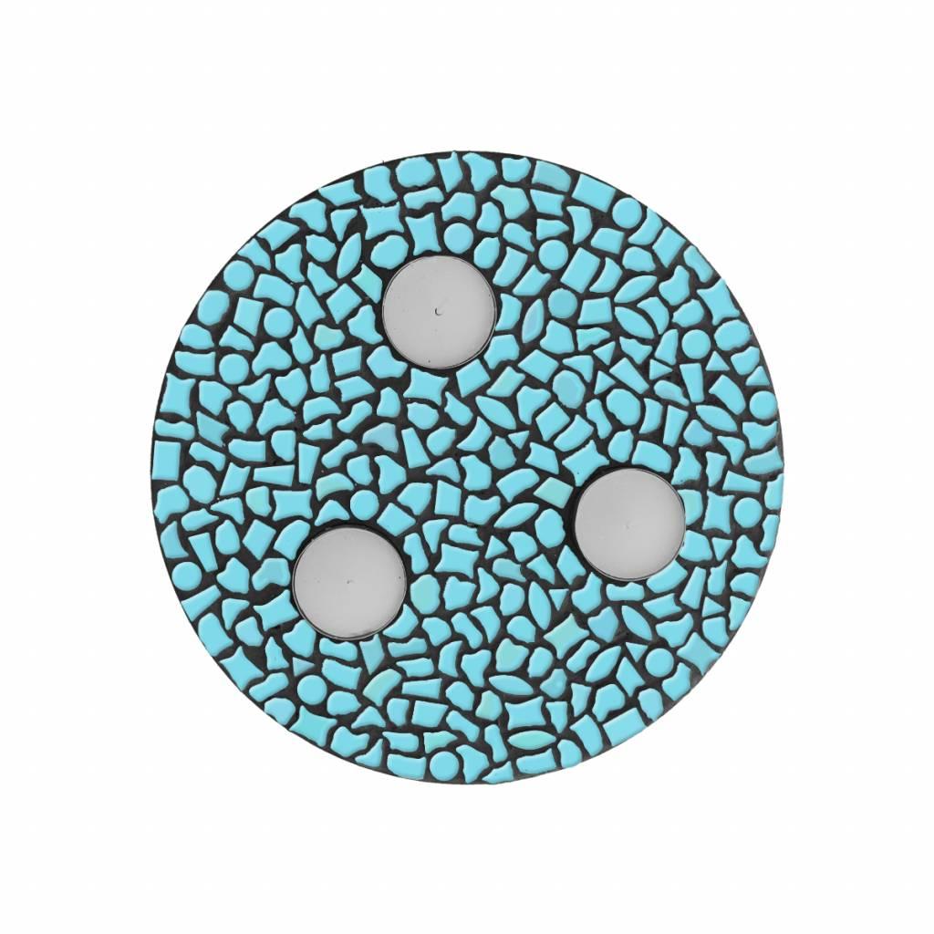 Cristallo Waxinelichthouder Uni Lichtblauw Mozaiek pakket PREMIUM