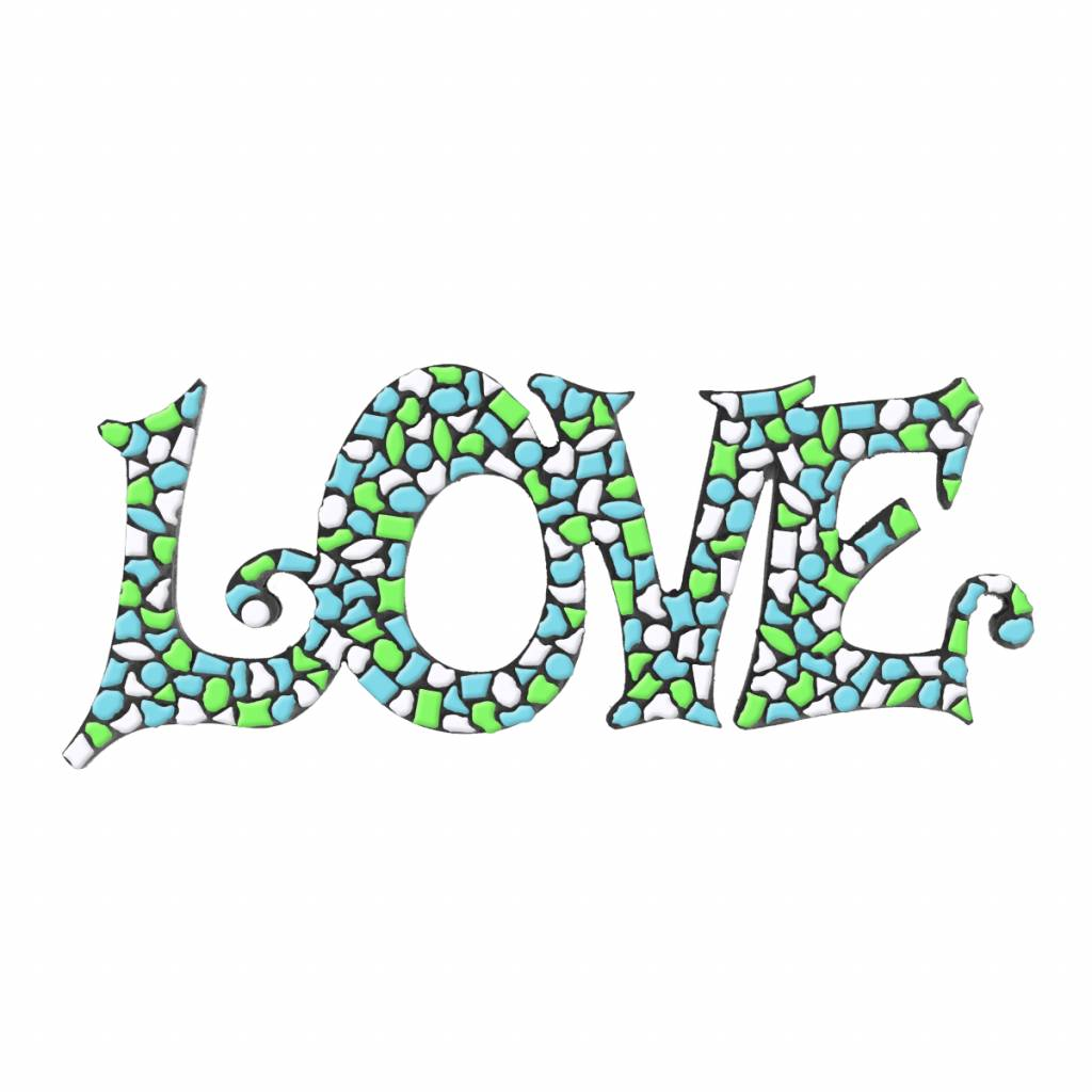 LOVE Wit-Lichtgroen-Lichtblauw Mozaiek pakket PREMIUM