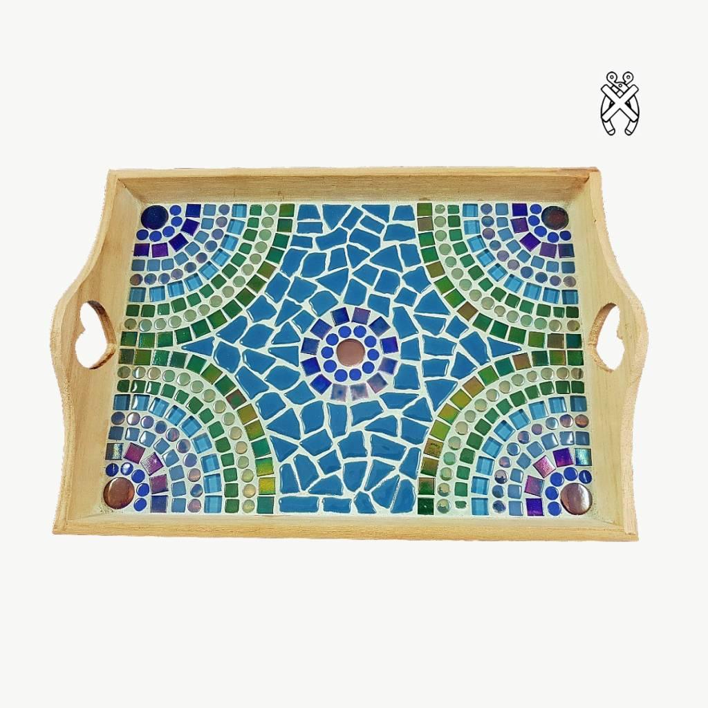Mozaiekpakket Dienblad Castella Blauw-Groen