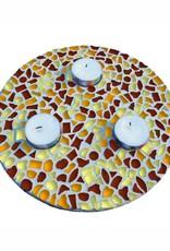 Waxinelichthouder Bruin-Oranje-Geel