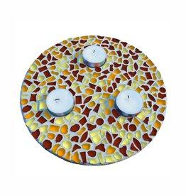 Mozaiek pakket Waxinelichthouder Bruin-Oranje-Geel