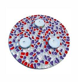 Mozaiek pakket Waxinelichthouder Rood-Wit-Paars