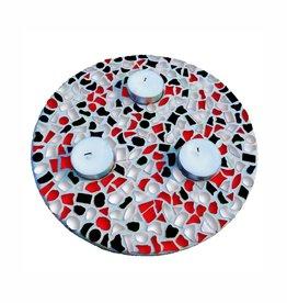 Mozaiek pakket Waxinelichthouder Rood-Zwart-Wit