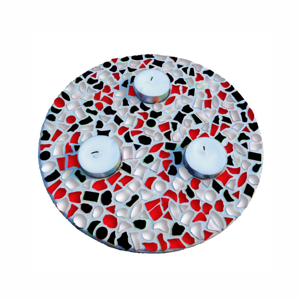 Waxinelichthouder Rood-Zwart-Wit
