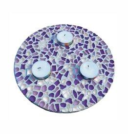 Mozaiek pakket Waxinelichthouder Wit-Paars-Violet