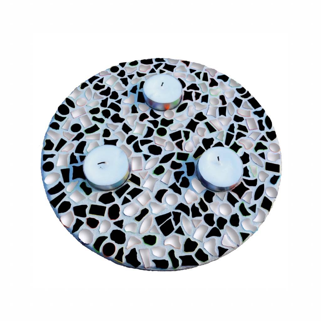 Waxinelichthouder Zwart-Wit
