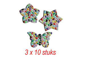 Bloem/ster/vlinder 3x10 stuks mozaiekpakket