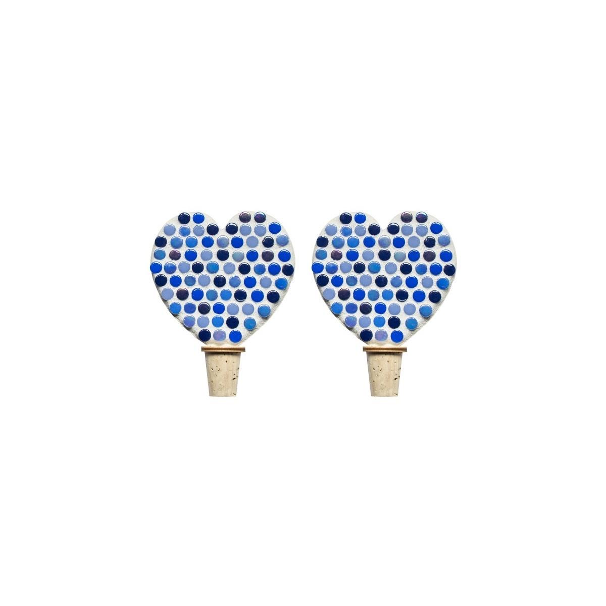 Flessenstop set/2 Hart Blauwtinten
