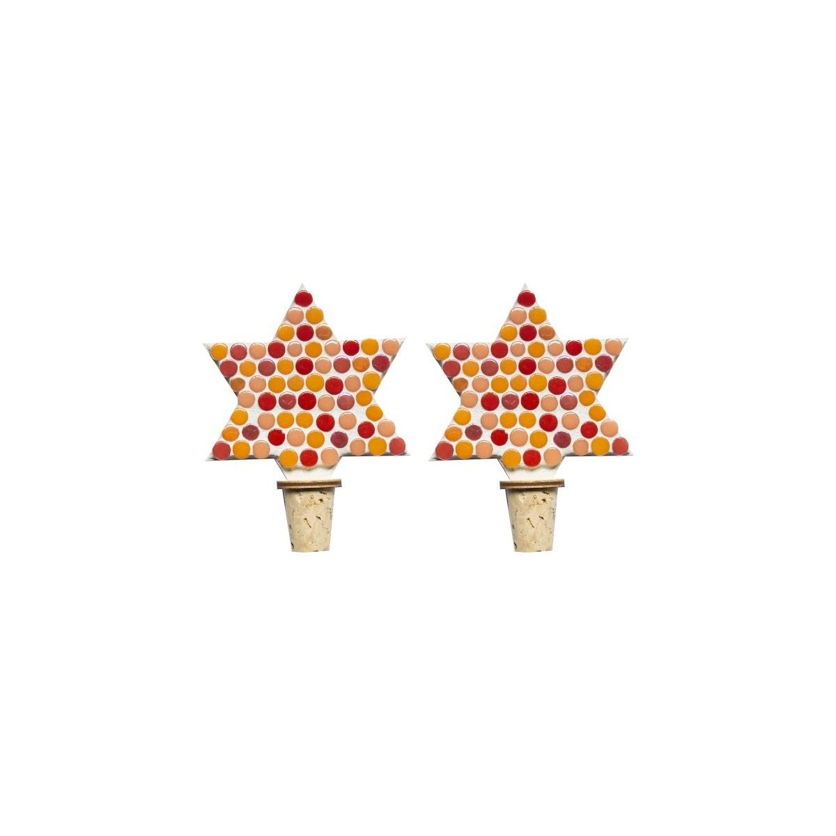 Flessenstop set/2 Ster Rood-oranjetinten