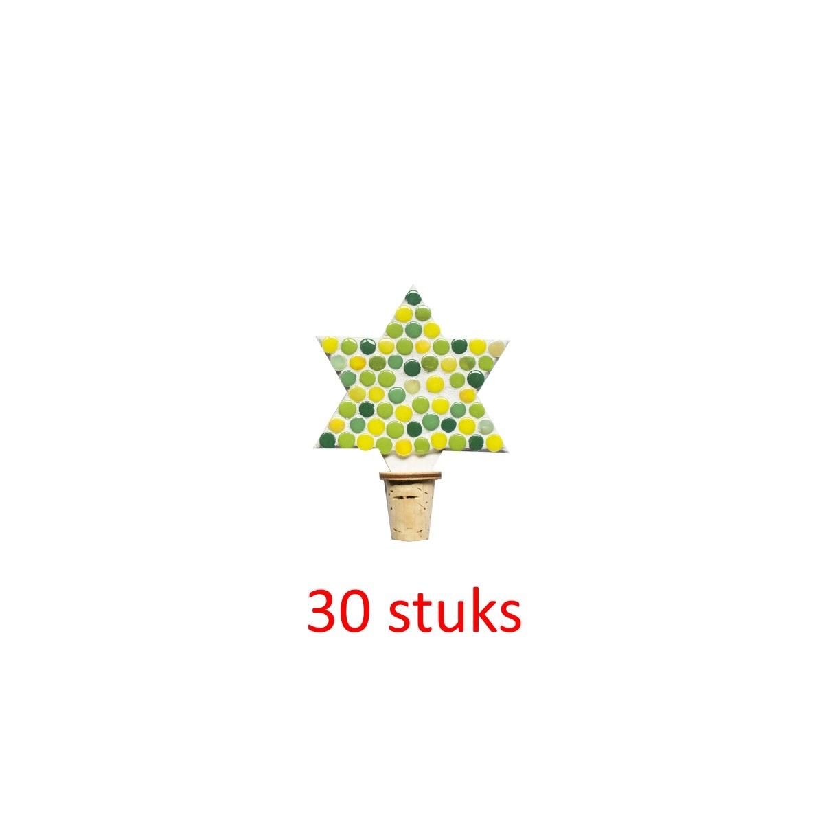 Flessenstop Ster Groentinten 30 stuks