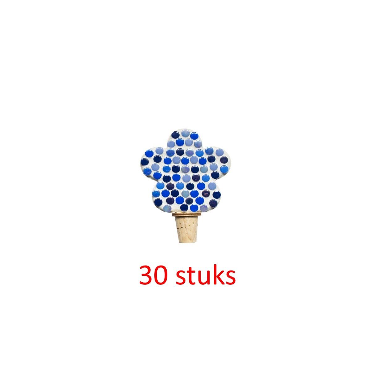 Flessenstop Bloem Blauwtinten 30 stuks