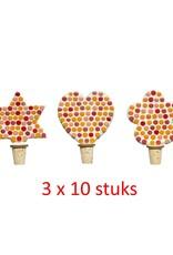 Flessenstop Hart/Ster/Bloem Rood-oranjetinten 30 stuks