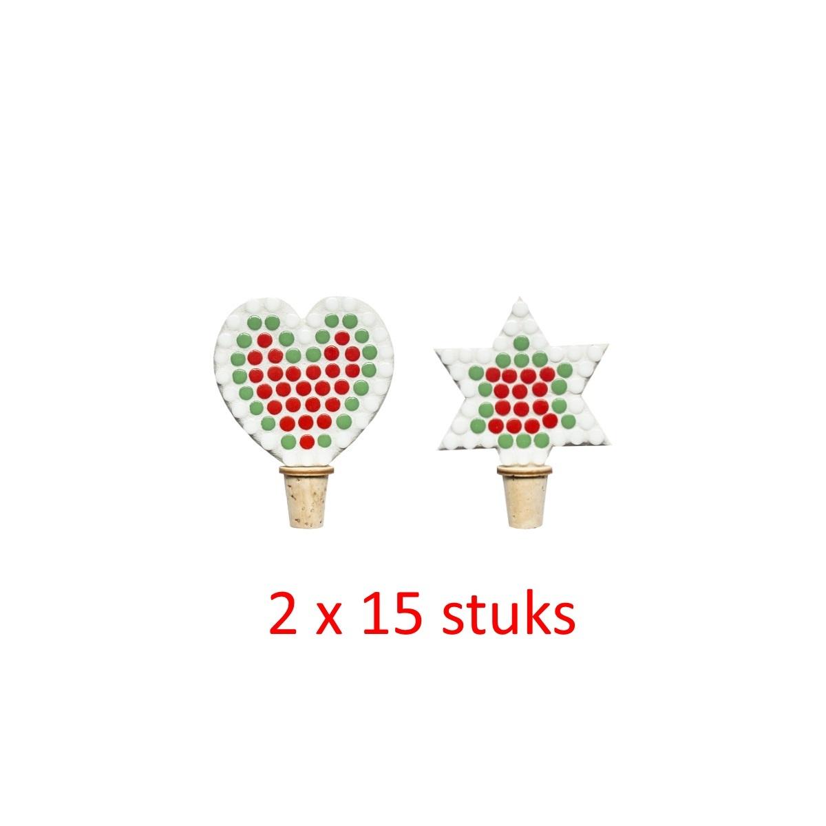 Flessenstop Hart/Ster Kerst 30 stuks