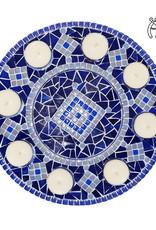 Mozaiek waxinelichthouder Luxe Rondo Blauw