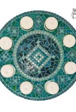 Mozaiek waxinelichthouder Luxe Rondo Zeegroen